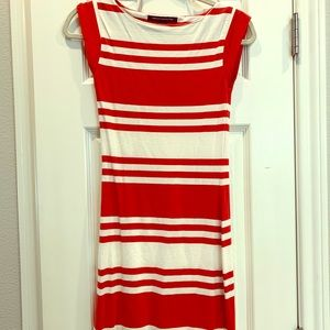 FRENCH CONNECTION red/white fitted striped dress